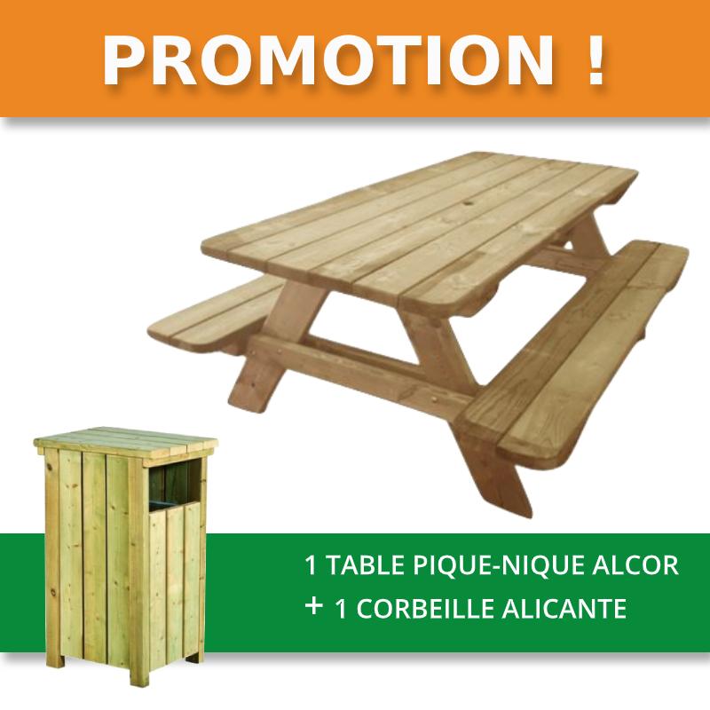 table pique-nique en bois ALCOR en promotion - Leader Équipements