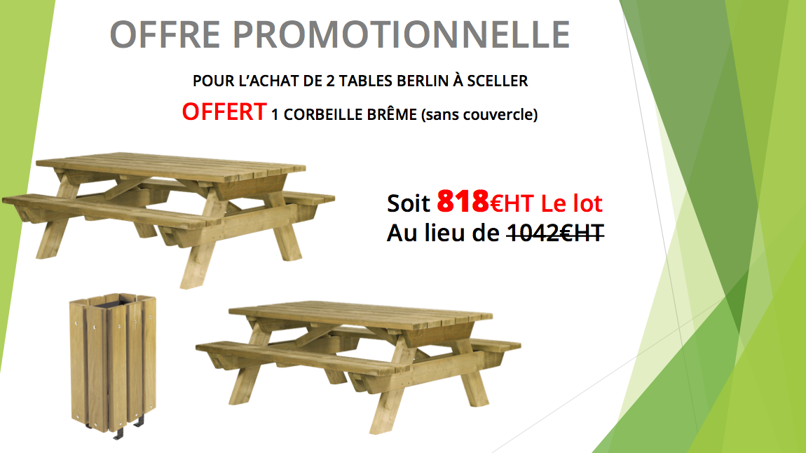 table pique-nique berlin en promotion - leader équipements