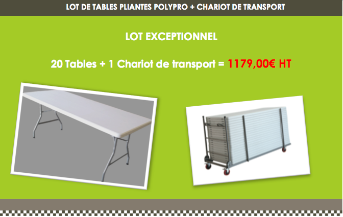 lot de tables pliantes 183 x 76 cm en promotion leader équipements