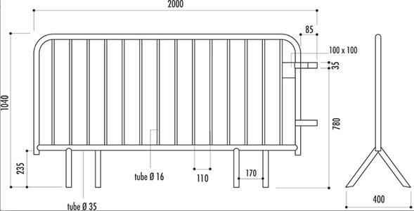 Fiche technique de la barrière Vauban 14 barreaux
