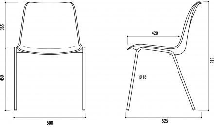 Fiche technique de la chaise en plastique Hélène
