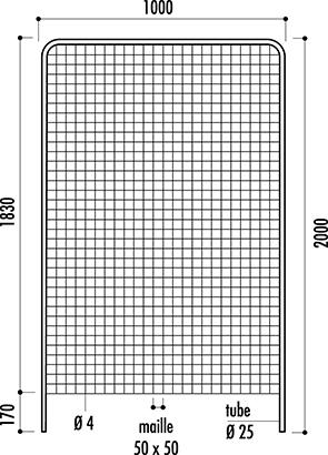 Dessin technique du panneau grille d'affichage