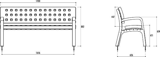 banc ext rieur pour collectivit banc pour collectivit en poly thyl ne. Black Bedroom Furniture Sets. Home Design Ideas