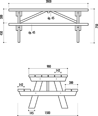 Fiche technique de la table picnic en bois Berlin - leader équipements