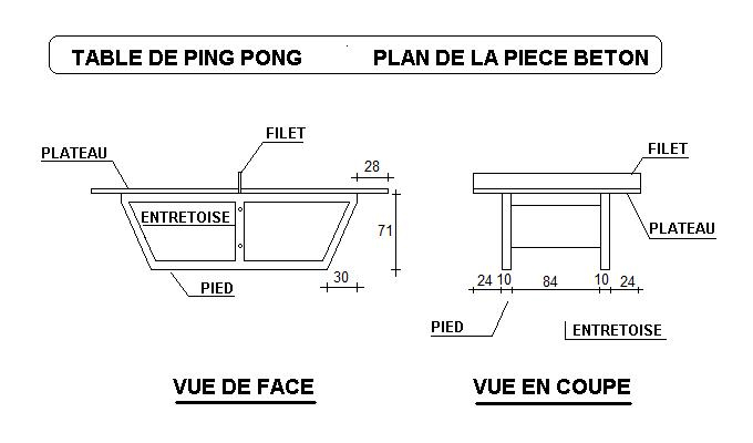 Table ping pong en b ton arm table de tennis de table - Table de ping pong exterieur en beton ...