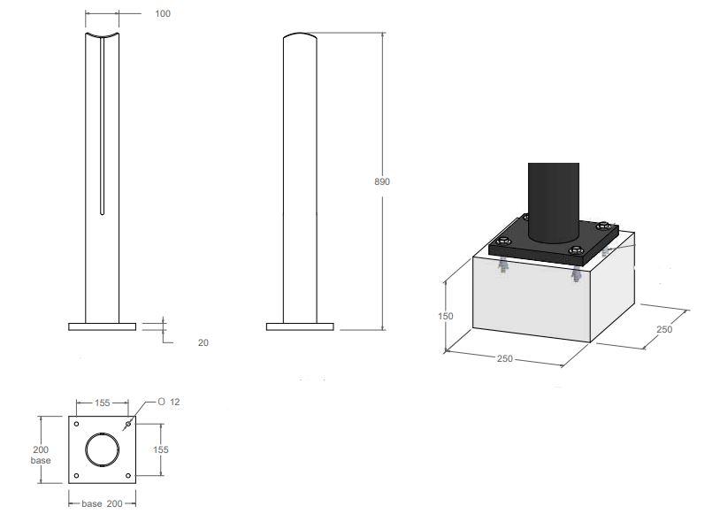 Dessin technique du modèle Ø 100 mm borne fonte Badalona - Leader Equipements