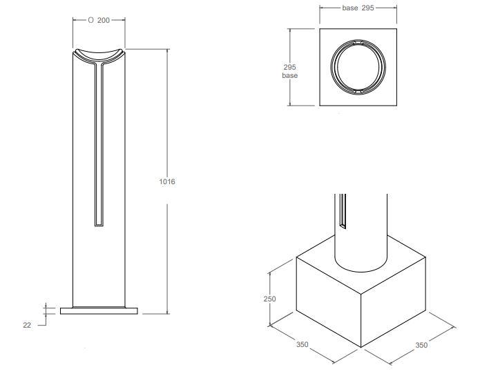 Dessin technique du modèle Ø 200 mm borne Badalona - Leader Equipements