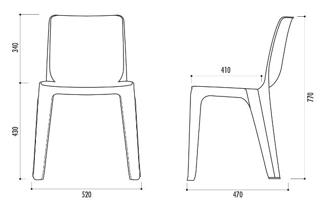 Chaise monobloc en plastique de collectivit chaise - Dessin de chaise en perspective ...