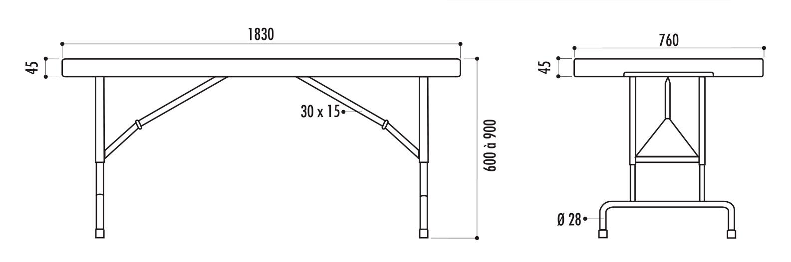 dimensions de la table pliante en polypro à hauteur réglable - leader équipements
