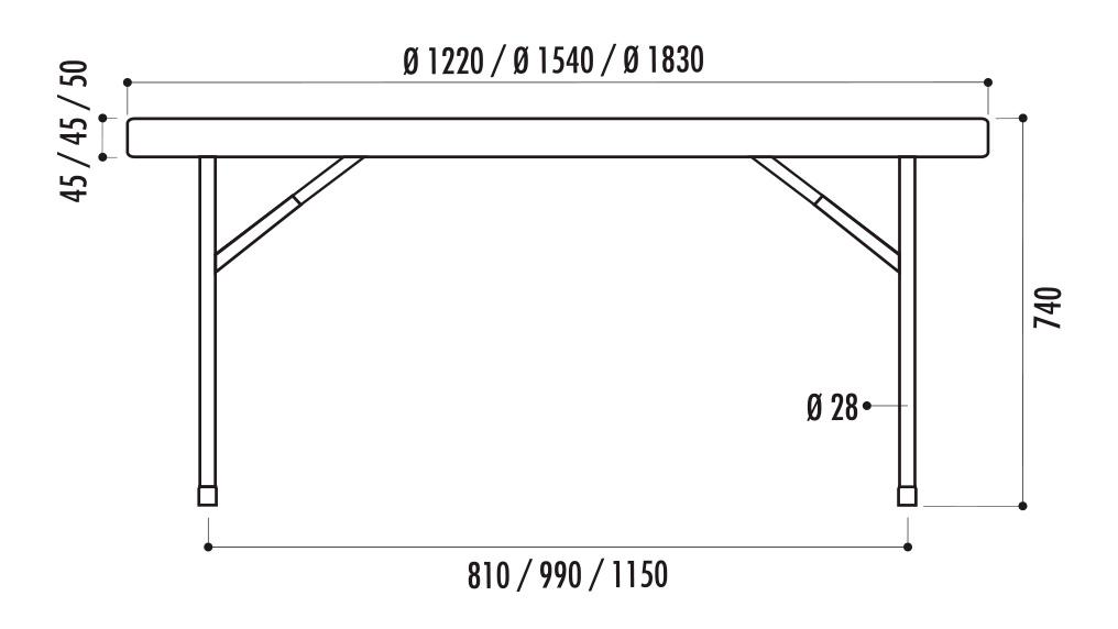 dimensions des tables pliantes rondes en polypro - leader équipements