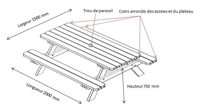 Illustration en dessin technique avec dimensions de la table de pique nique en bois et coins arrondis modèle Alcor - Leader Equipements