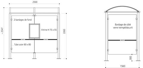 station de bus ol ron arr t de bus m tallique abri bus 250 ou 500 cm. Black Bedroom Furniture Sets. Home Design Ideas