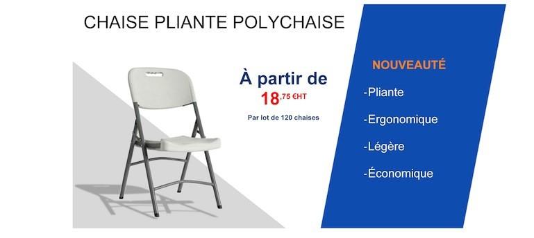 Chaise pliante avec assise et dossier en polypro
