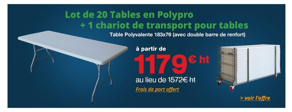 Lot de 20 Tables en Polypro + 1 chariot de transport pour tables
