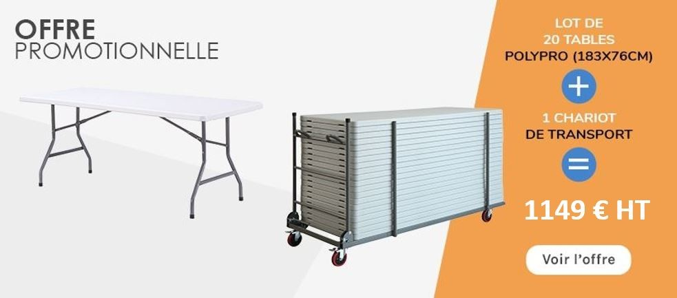 Lot de 20 tables polpro + 1 chariot de transport
