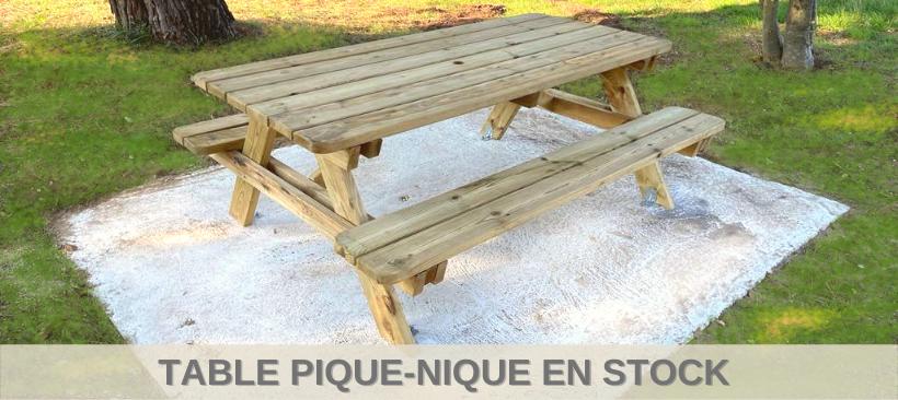 Table de pique-nique en bois ALCOR avec lames arrondies